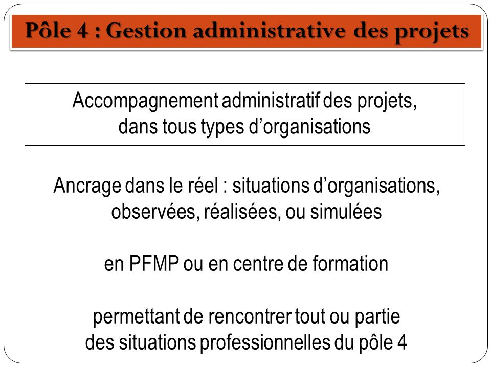 Pôle 4 : Gestion administrative des projets Accompagnement administratif des projets, dans tous types dorganisations Ancrage dans le réel : situations