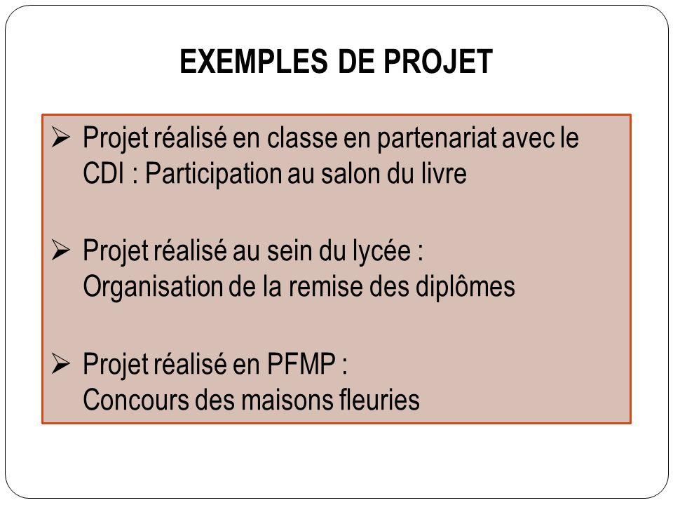 EXEMPLES DE PROJET Projet réalisé en classe en partenariat avec le CDI : Participation au salon du livre Projet réalisé au sein du lycée : Organisatio