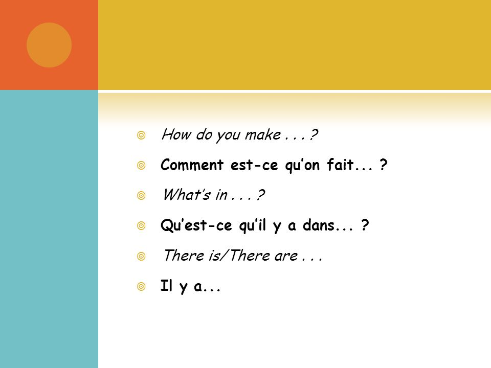 How do you make... Comment est-ce quon fait... Whats in...