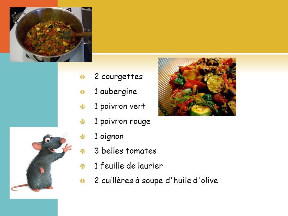 2 courgettes 1 aubergine 1 poivron vert 1 poivron rouge 1 oignon 3 belles tomates 1 feuille de laurier 2 cuillères à soupe d huile d olive