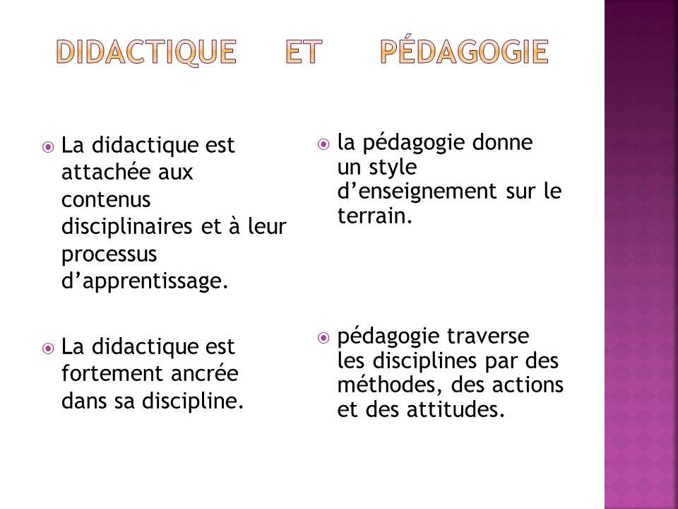 La didactique est attachée aux contenus disciplinaires et à leur processus dapprentissage. La didactique est fortement ancrée dans sa discipline. la p