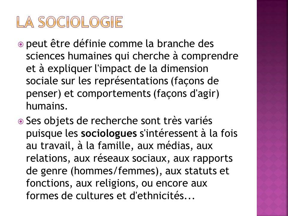 peut être définie comme la branche des sciences humaines qui cherche à comprendre et à expliquer l'impact de la dimension sociale sur les représentati