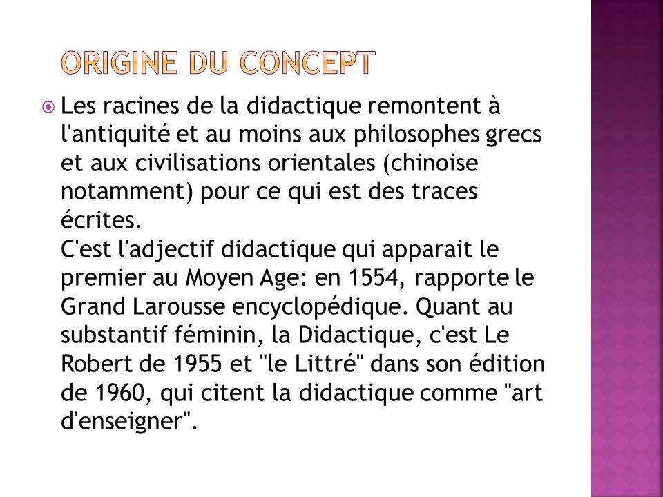 Les racines de la didactique remontent à l'antiquité et au moins aux philosophes grecs et aux civilisations orientales (chinoise notamment) pour ce qu