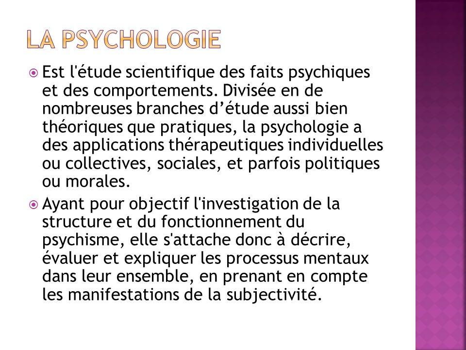 Est l'étude scientifique des faits psychiques et des comportements. Divisée en de nombreuses branches détude aussi bien théoriques que pratiques, la p