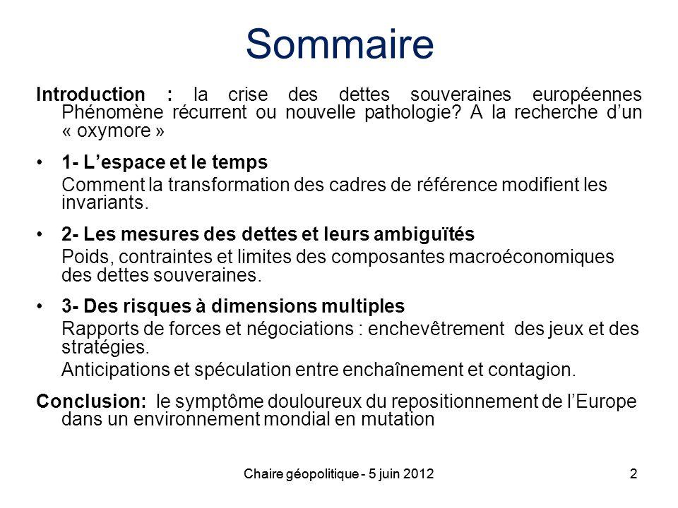 2 Sommaire Introduction : la crise des dettes souveraines européennes Phénomène récurrent ou nouvelle pathologie? A la recherche dun « oxymore » 1- Le
