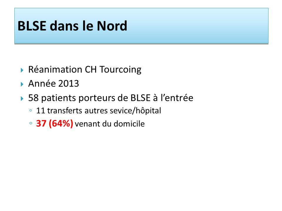 Réanimation CH Tourcoing Année 2013 58 patients porteurs de BLSE à lentrée 11 transferts autres sevice/hôpital 37 (64%) venant du domicile