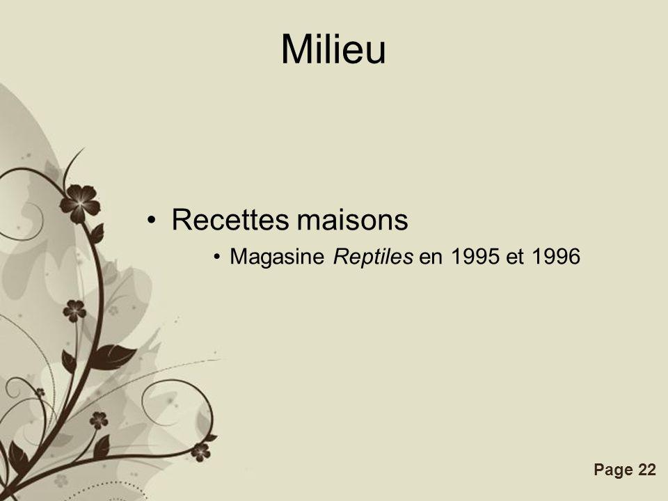 Free Powerpoint TemplatesPage 22 Milieu Recettes maisons Magasine Reptiles en 1995 et 1996