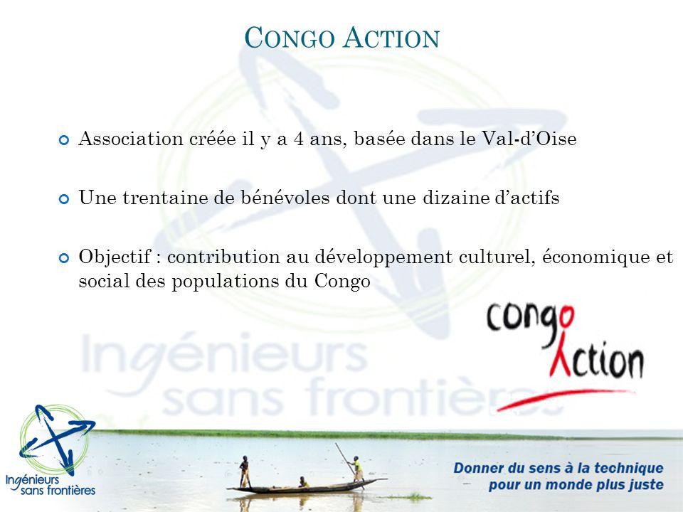Association créée il y a 4 ans, basée dans le Val-dOise Une trentaine de bénévoles dont une dizaine dactifs Objectif : contribution au développement culturel, économique et social des populations du Congo C ONGO A CTION