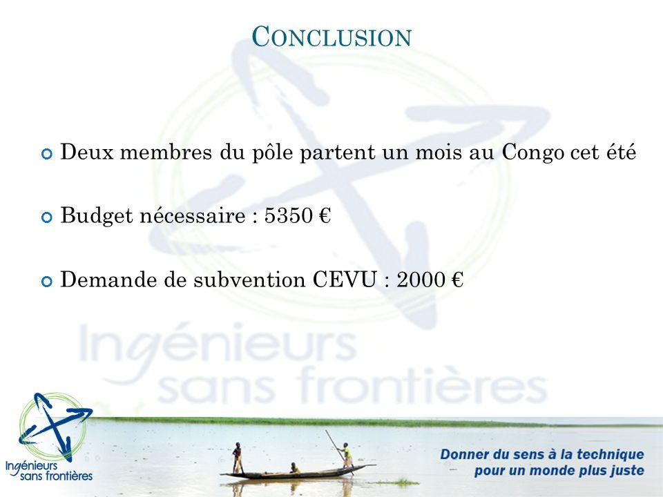 C ONCLUSION Deux membres du pôle partent un mois au Congo cet été Budget nécessaire : 5350 Demande de subvention CEVU : 2000