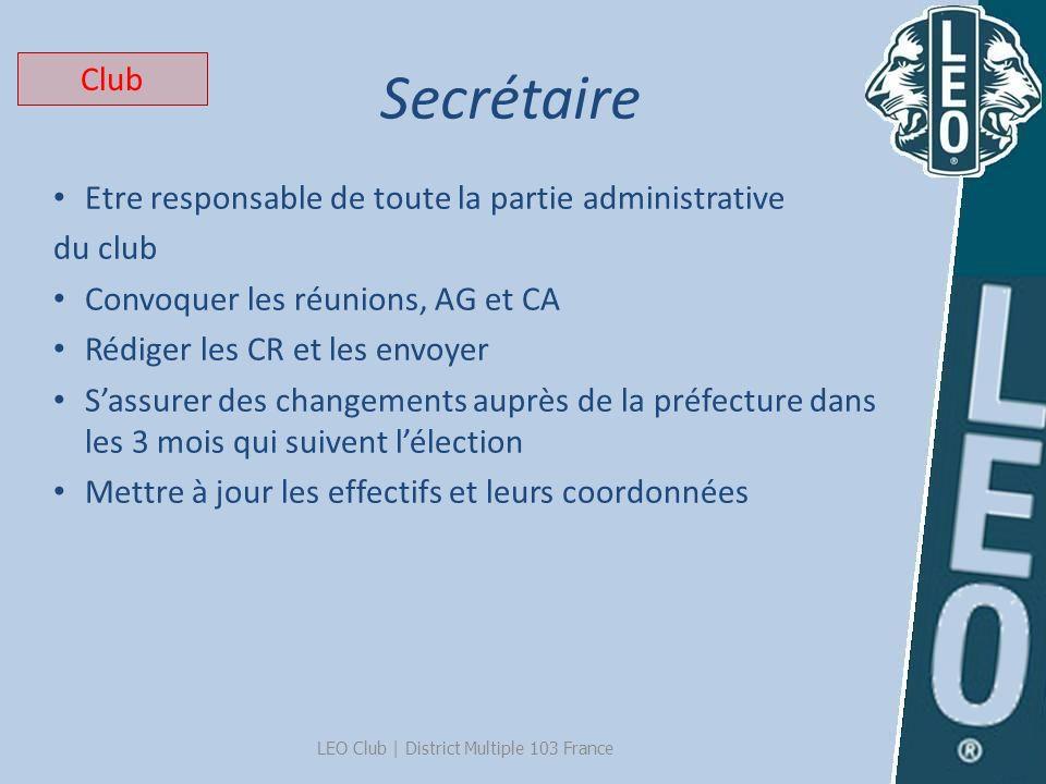 Secrétaire LEO Club   District Multiple 103 France Etre responsable de toute la partie administrative du club Convoquer les réunions, AG et CA Rédiger