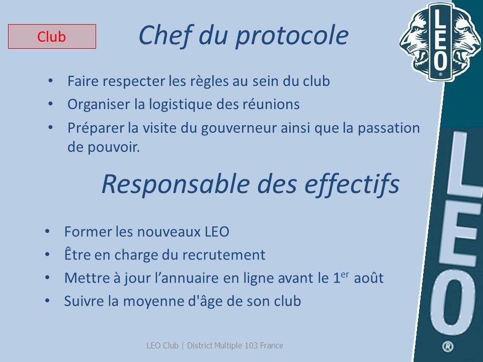 Chef du protocole LEO Club   District Multiple 103 France Faire respecter les règles au sein du club Organiser la logistique des réunions Préparer la