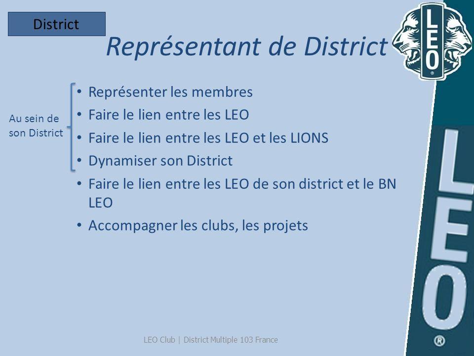 Représentant de District LEO Club   District Multiple 103 France Représenter les membres Faire le lien entre les LEO Faire le lien entre les LEO et le