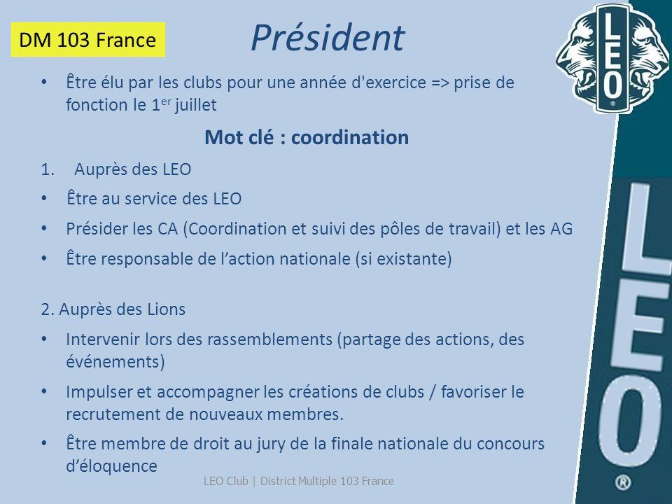 Président LEO Club   District Multiple 103 France Être élu par les clubs pour une année d'exercice => prise de fonction le 1 er juillet Mot clé : coor