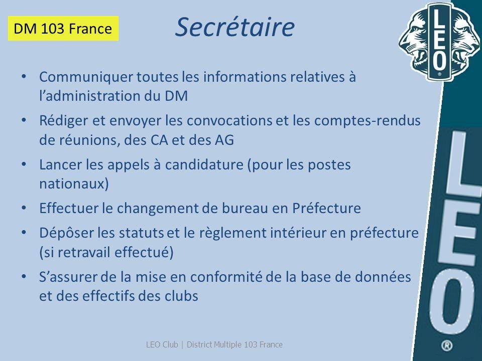 LEO Club   District Multiple 103 France Communiquer toutes les informations relatives à ladministration du DM Rédiger et envoyer les convocations et l