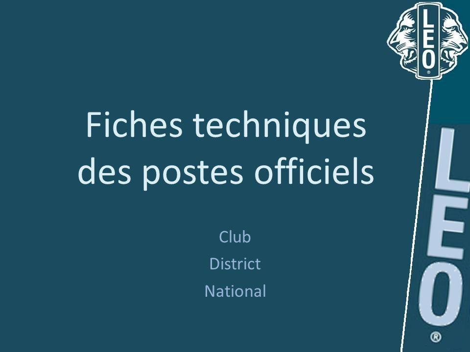 Fiches techniques des postes officiels Club District National