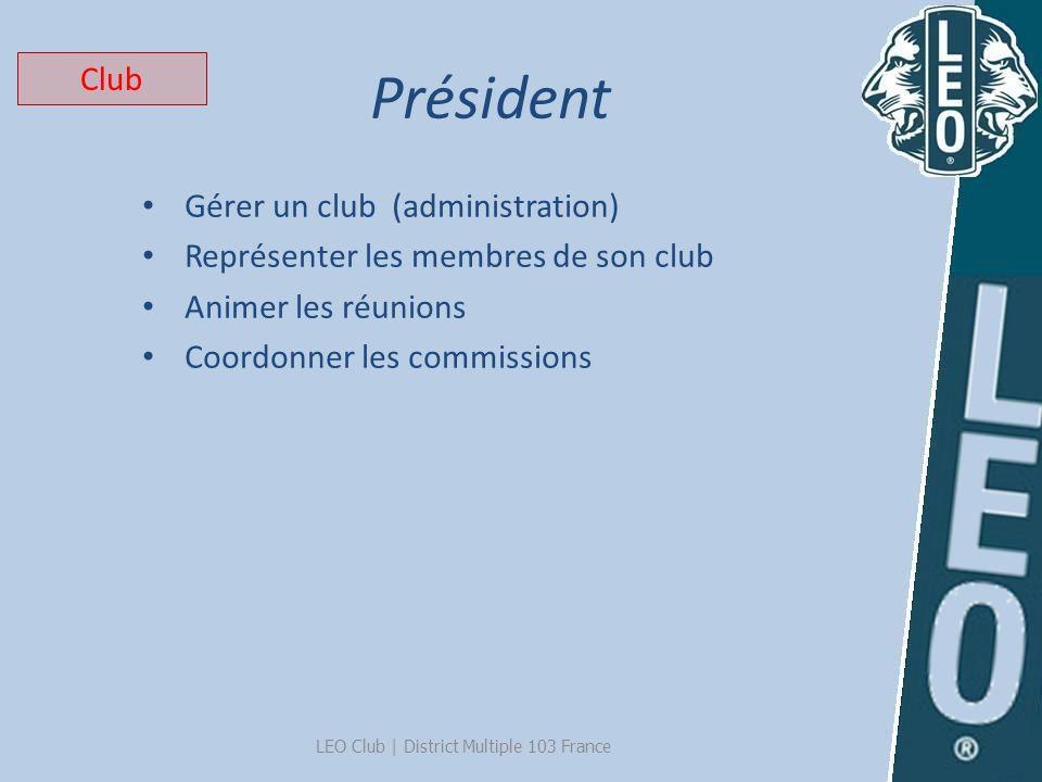 Président LEO Club | District Multiple 103 France Gérer un club (administration) Représenter les membres de son club Animer les réunions Coordonner le