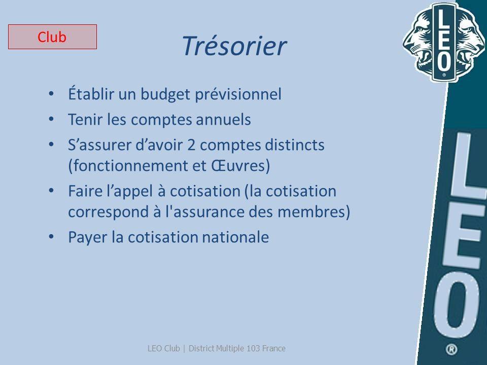 Trésorier LEO Club   District Multiple 103 France Établir un budget prévisionnel Tenir les comptes annuels Sassurer davoir 2 comptes distincts (foncti