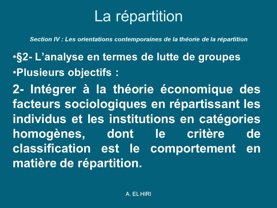 A. EL HIRI La répartition Section IV : Les orientations contemporaines de la théorie de la répartition §2- Lanalyse en termes de lutte de groupes Plus
