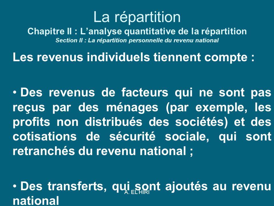 A. EL HIRI La répartition Chapitre II : Lanalyse quantitative de la répartition Section II : La répartition personnelle du revenu national Les revenus