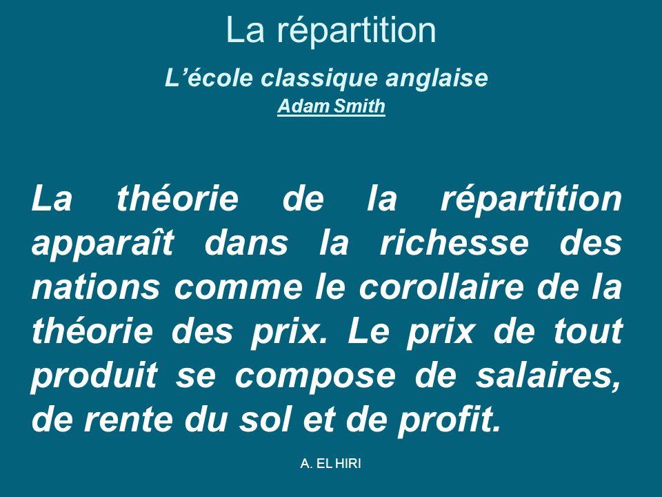 A. EL HIRI La répartition Lécole classique anglaise Adam Smith La théorie de la répartition apparaît dans la richesse des nations comme le corollaire