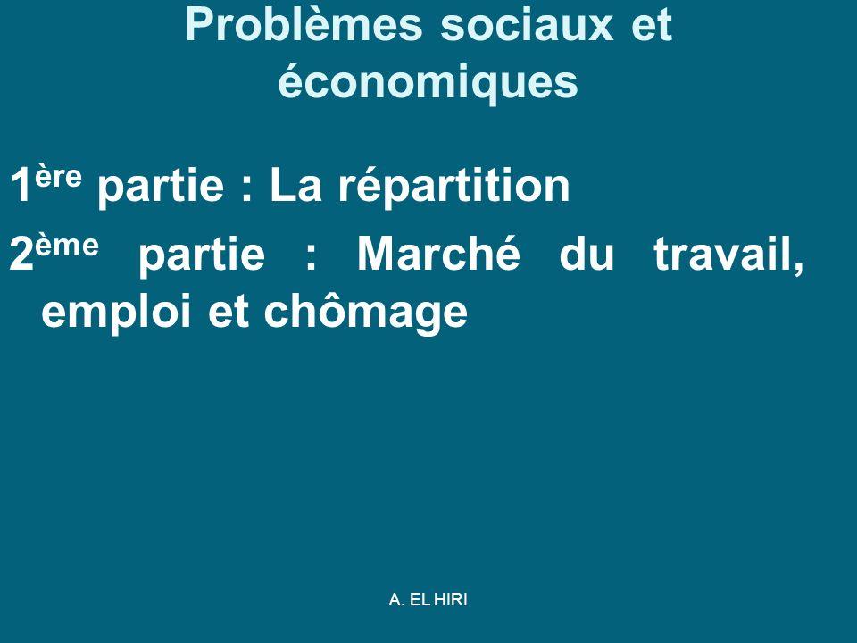 A. EL HIRI Problèmes sociaux et économiques 1 ère partie : La répartition 2 ème partie : Marché du travail, emploi et chômage