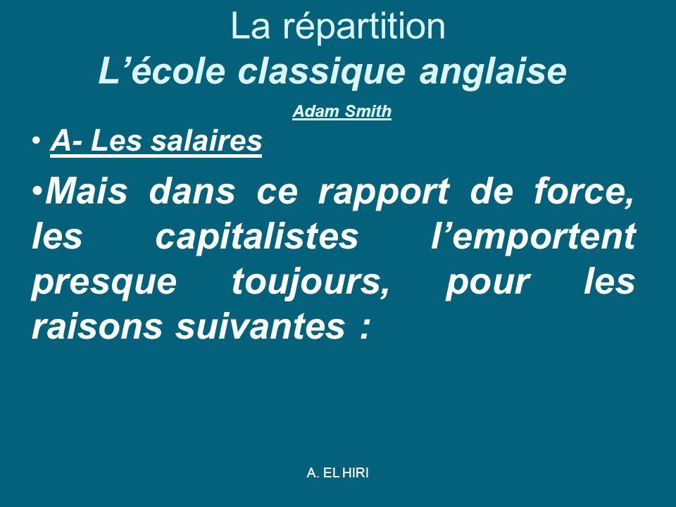A. EL HIRI La répartition Lécole classique anglaise Adam Smith A- Les salaires Mais dans ce rapport de force, les capitalistes lemportent presque touj
