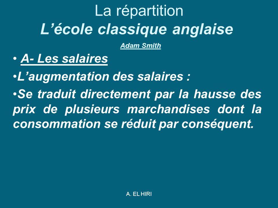 A. EL HIRI La répartition Lécole classique anglaise Adam Smith A- Les salaires Laugmentation des salaires : Se traduit directement par la hausse des p