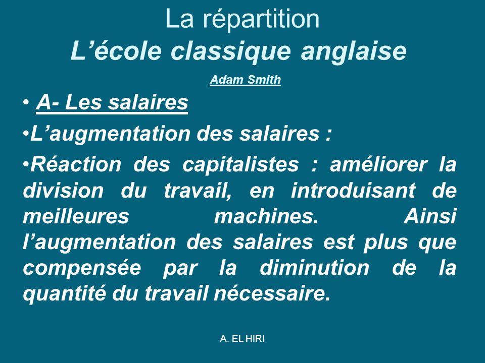 A. EL HIRI La répartition Lécole classique anglaise Adam Smith A- Les salaires Laugmentation des salaires : Réaction des capitalistes : améliorer la d