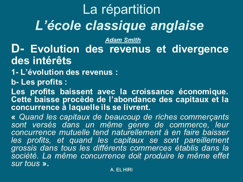 A. EL HIRI La répartition Lécole classique anglaise Adam Smith D- Evolution des revenus et divergence des intérêts 1- Lévolution des revenus : b- Les