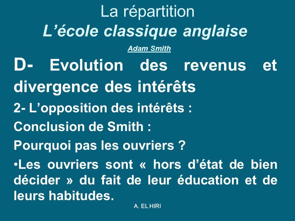 A. EL HIRI La répartition Lécole classique anglaise Adam Smith D- Evolution des revenus et divergence des intérêts 2- Lopposition des intérêts : Concl