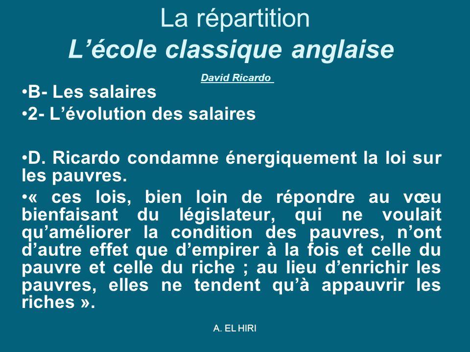 A. EL HIRI La répartition Lécole classique anglaise David Ricardo B- Les salaires 2- Lévolution des salaires D. Ricardo condamne énergiquement la loi