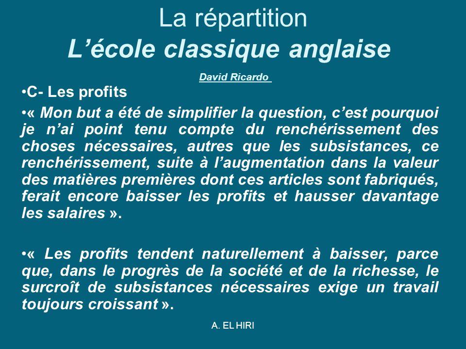A. EL HIRI La répartition Lécole classique anglaise David Ricardo C- Les profits « Mon but a été de simplifier la question, cest pourquoi je nai point