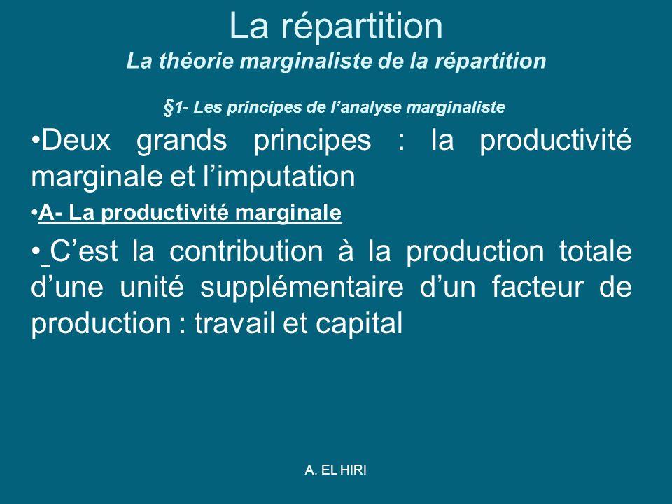 A. EL HIRI La répartition La théorie marginaliste de la répartition § 1- Les principes de lanalyse marginaliste Deux grands principes : la productivit