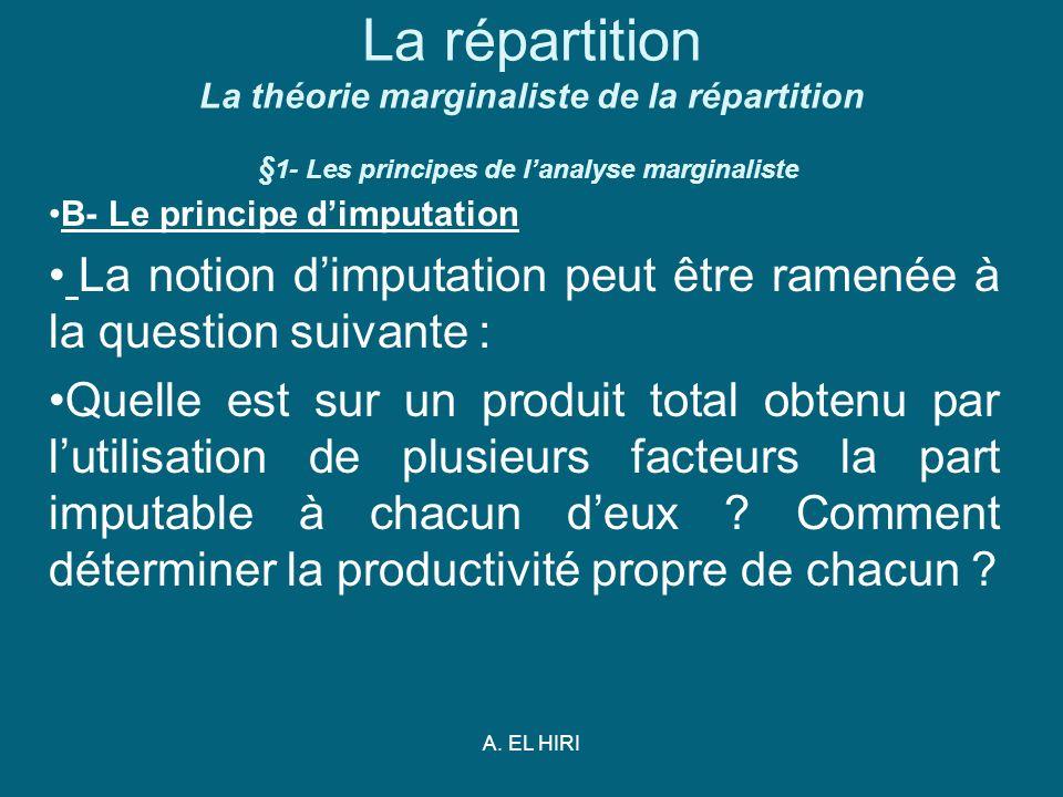 A. EL HIRI La répartition La théorie marginaliste de la répartition § 1- Les principes de lanalyse marginaliste B- Le principe dimputation La notion d