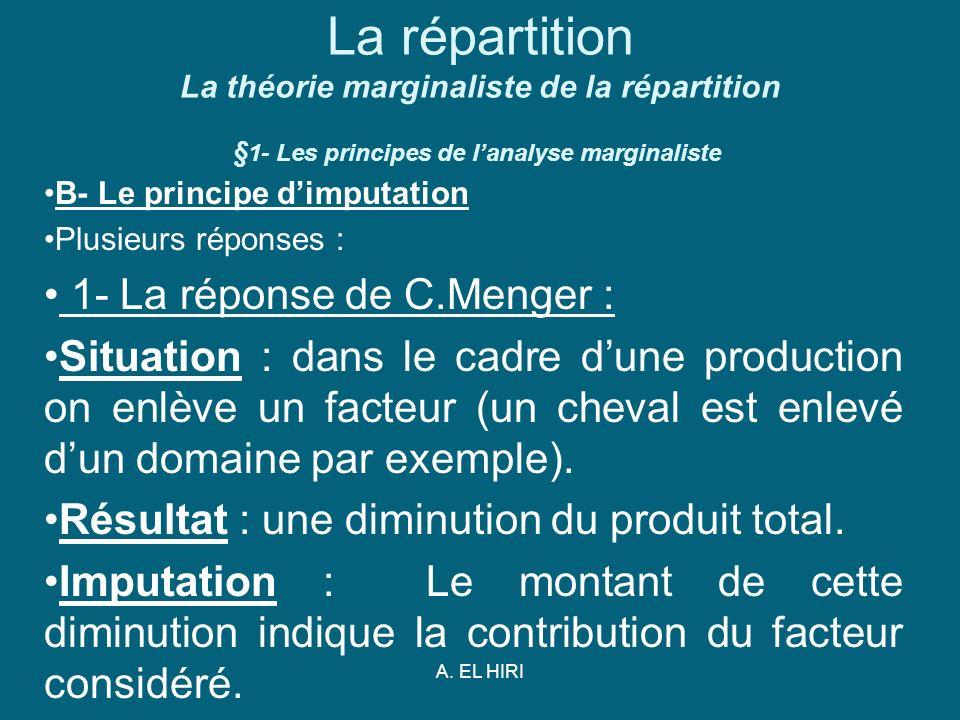 A. EL HIRI La répartition La théorie marginaliste de la répartition § 1- Les principes de lanalyse marginaliste B- Le principe dimputation Plusieurs r