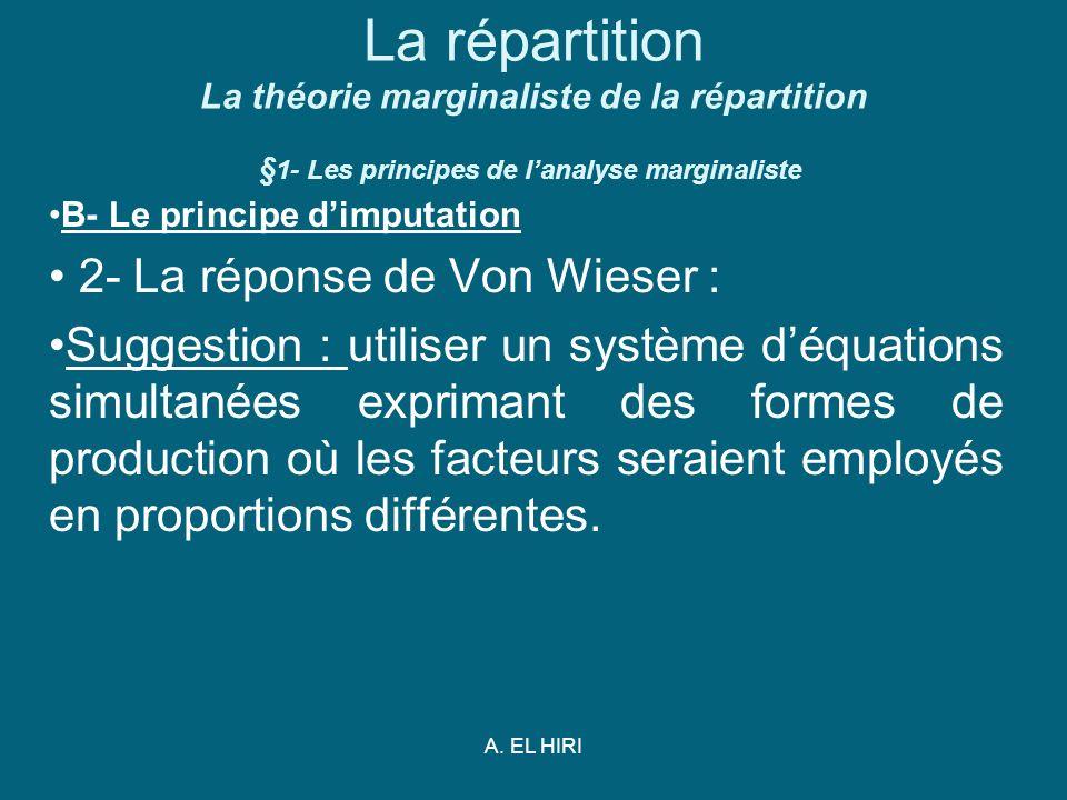 A. EL HIRI La répartition La théorie marginaliste de la répartition § 1- Les principes de lanalyse marginaliste B- Le principe dimputation 2- La répon