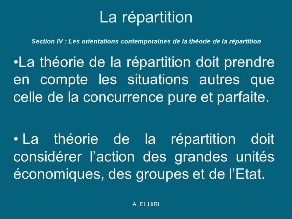 A. EL HIRI La répartition Section IV : Les orientations contemporaines de la théorie de la répartition La théorie de la répartition doit prendre en co