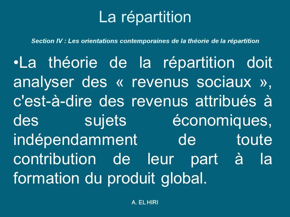 A. EL HIRI La répartition Section IV : Les orientations contemporaines de la théorie de la répartition La théorie de la répartition doit analyser des