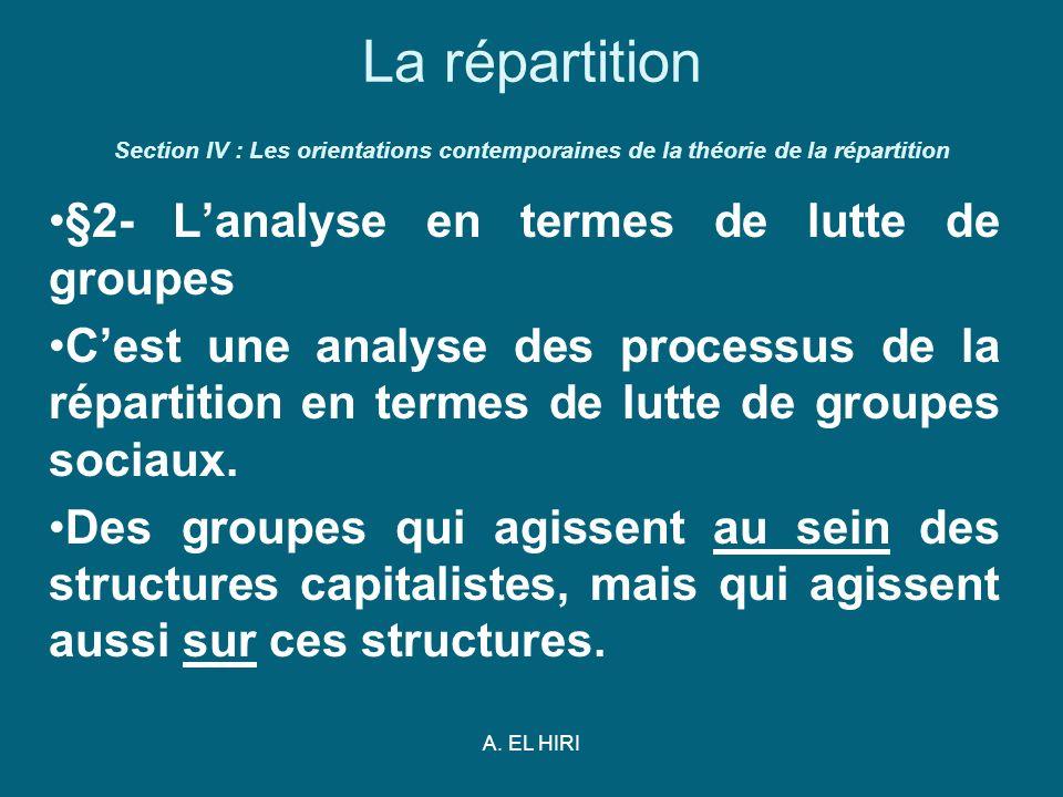 A. EL HIRI La répartition Section IV : Les orientations contemporaines de la théorie de la répartition §2- Lanalyse en termes de lutte de groupes Cest