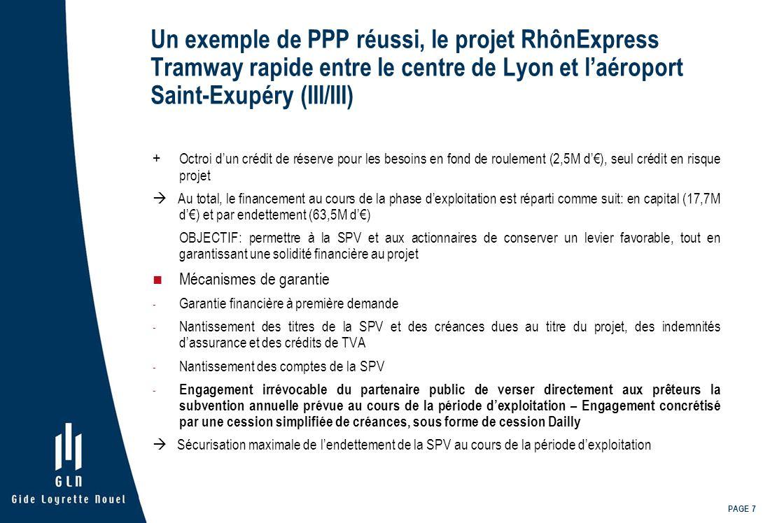 PAGE 7 Un exemple de PPP réussi, le projet RhônExpress Tramway rapide entre le centre de Lyon et laéroport Saint-Exupéry (III/III) + Octroi dun crédit