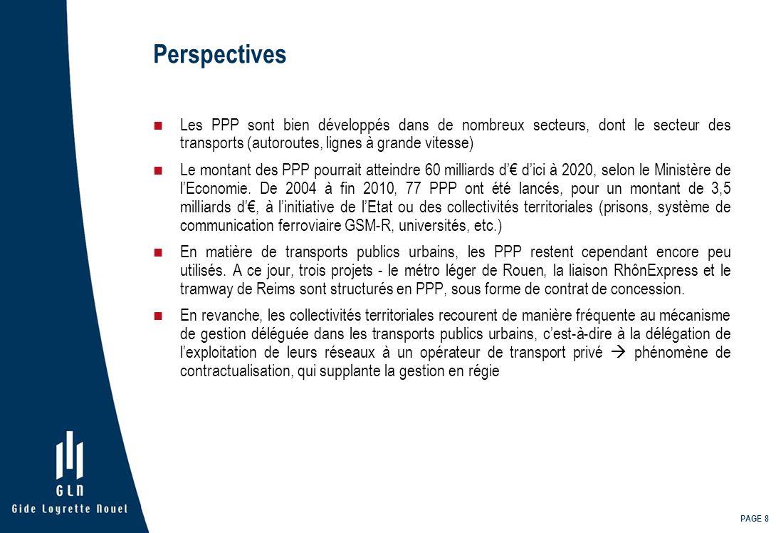 PAGE 8 Perspectives Les PPP sont bien développés dans de nombreux secteurs, dont le secteur des transports (autoroutes, lignes à grande vitesse) Le mo