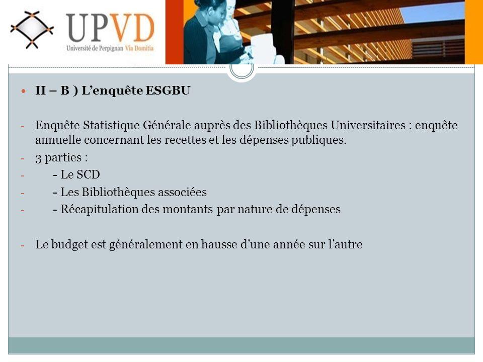 II – B ) Lenquête ESGBU - Enquête Statistique Générale auprès des Bibliothèques Universitaires : enquête annuelle concernant les recettes et les dépenses publiques.