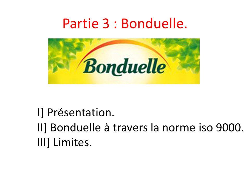 Partie 3 : Bonduelle. I] Présentation. II] Bonduelle à travers la norme iso 9000. III] Limites.