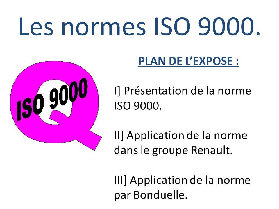 Les normes ISO 9000. PLAN DE LEXPOSE : I] Présentation de la norme ISO 9000. II] Application de la norme dans le groupe Renault. III] Application de l