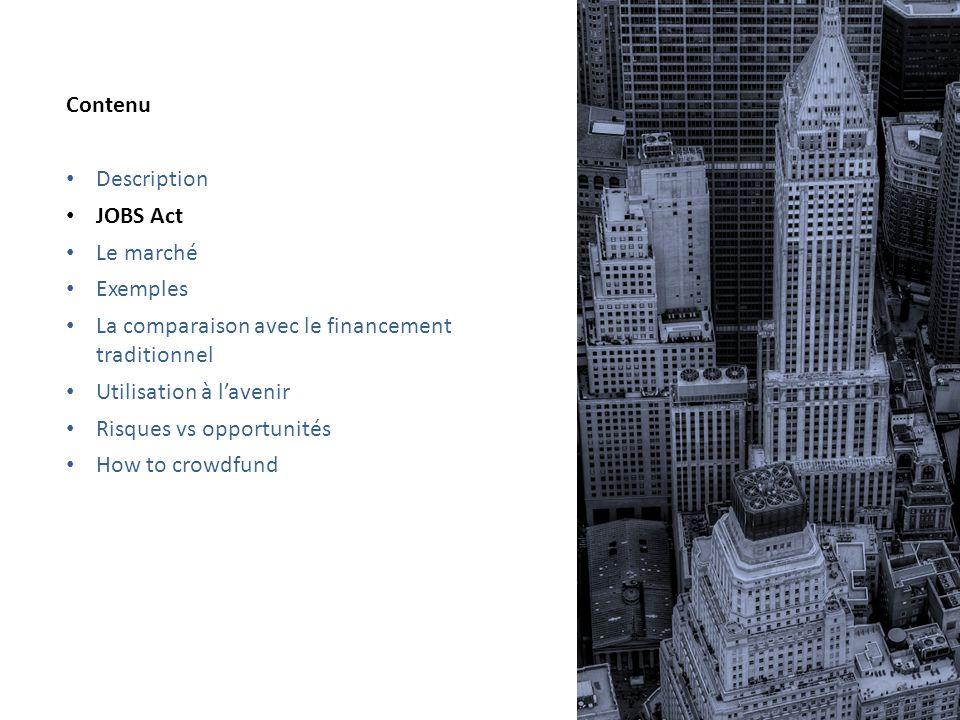 4 types de crowdfunding DéscriptionJOBS ActLe marchéExemples La comparaison avec le financement traditionnel Utilisation à lavenir Risques vs opportun