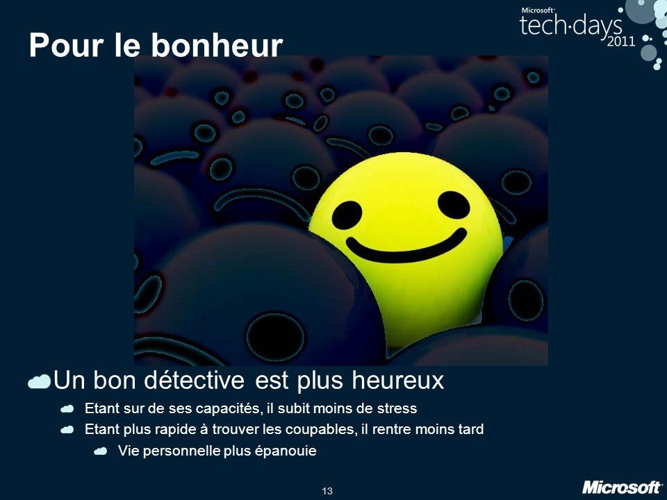 13 Pour le bonheur Un bon détective est plus heureux Etant sur de ses capacités, il subit moins de stress Etant plus rapide à trouver les coupables, i