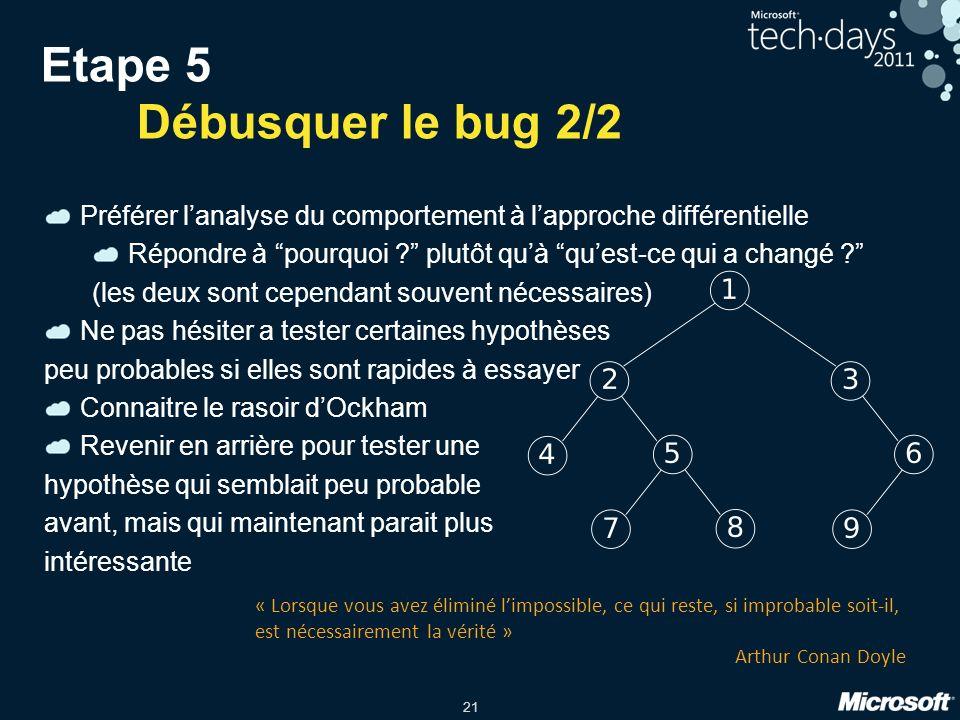 21 Etape 5 Débusquer le bug 2/2 Préférer lanalyse du comportement à lapproche différentielle Répondre à pourquoi ? plutôt quà quest-ce qui a changé ?