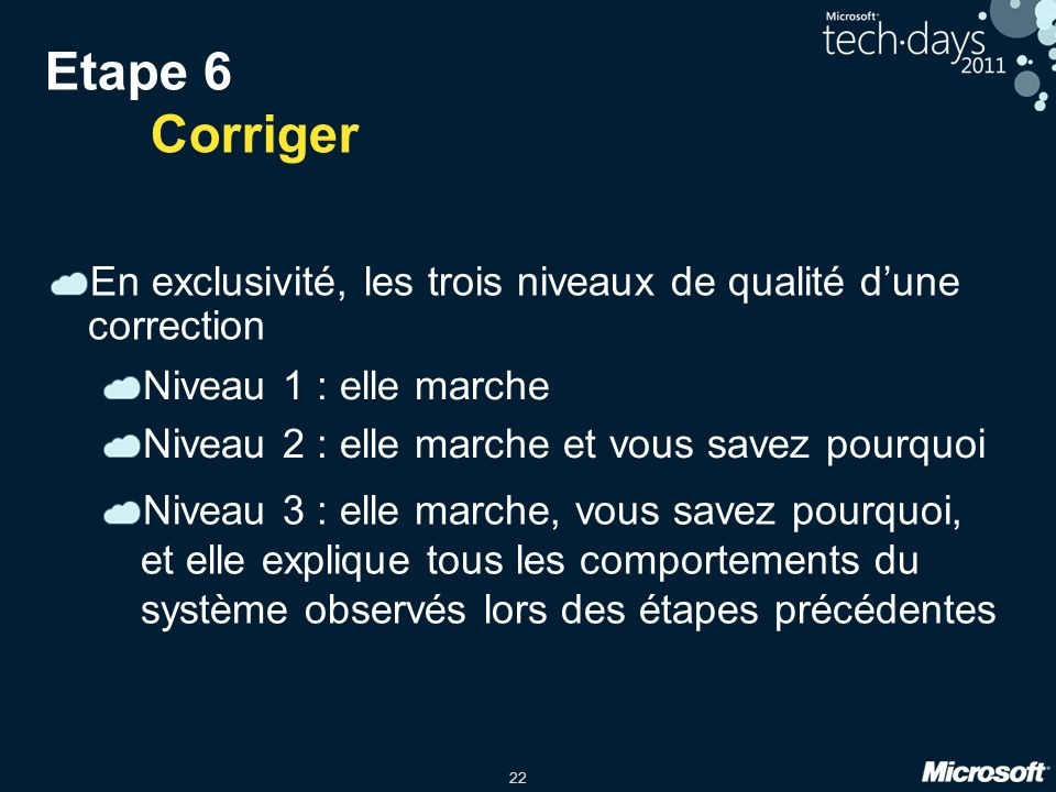 22 Etape 6 Corriger En exclusivité, les trois niveaux de qualité dune correction Niveau 1 : elle marche Niveau 2 : elle marche et vous savez pourquoi