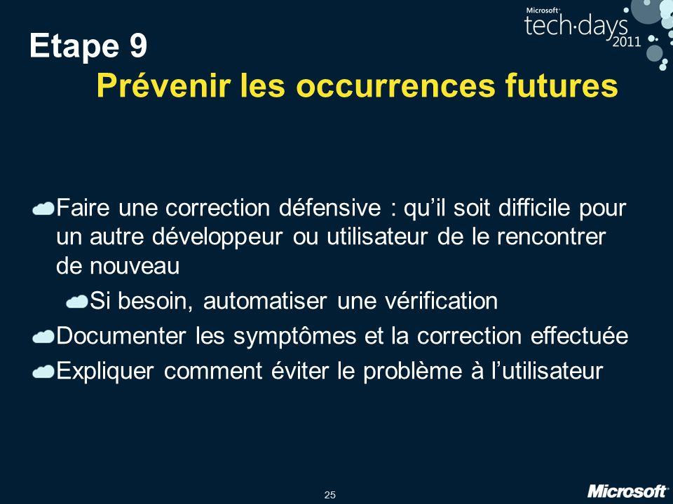 25 Etape 9 Prévenir les occurrences futures Faire une correction défensive : quil soit difficile pour un autre développeur ou utilisateur de le rencon