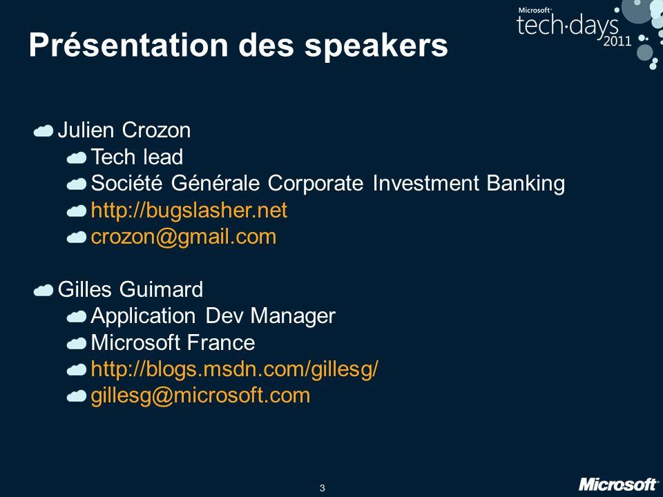 3 Présentation des speakers Julien Crozon Tech lead Société Générale Corporate Investment Banking http://bugslasher.net crozon@gmail.com Gilles Guimar